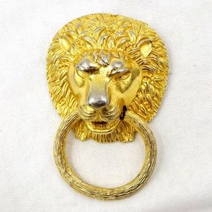 KENNETH LANE Pin Pendant Lion Head Door Knocker